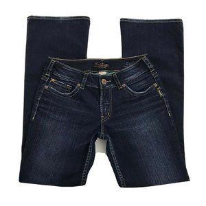 Silver Suki Dark Wash 28/32 Mid Rise  Flare Jeans
